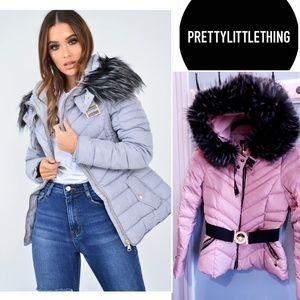 ❤ PLT Dusty Pink Puffer Coat Removable Faux Fur ❤